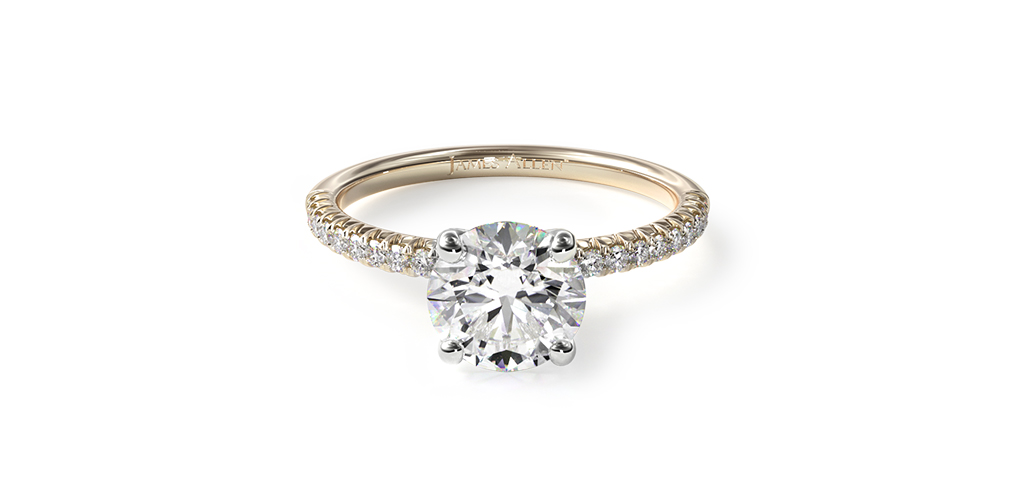 2021 engagement ring trends - yellow gold petite pave engagement ring