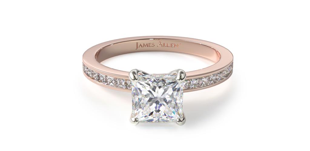 14K Rose Gold Channel Set Princess Cut Diamond Engagement Ring