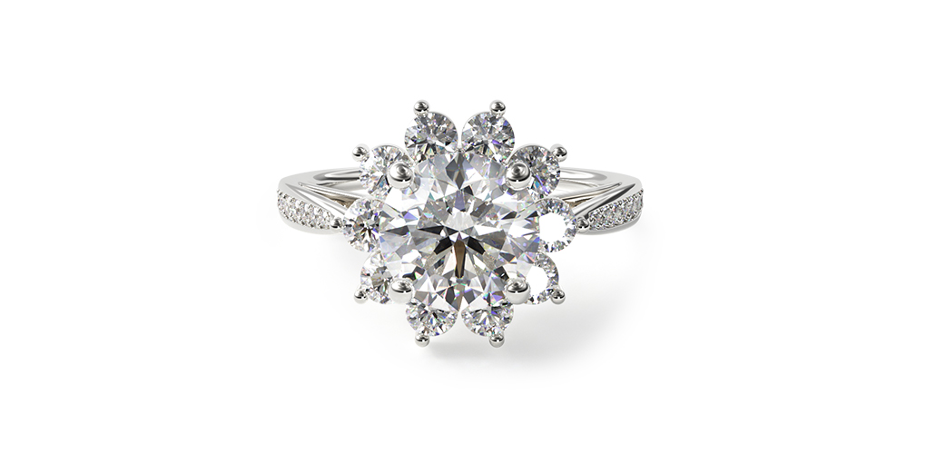 14K White Gold Cathedral Star Engagement Ring