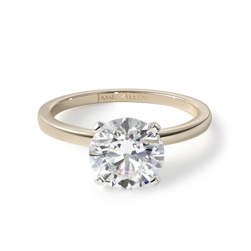 How to wear a wedding ring - yellow gold solitaire engagement ring