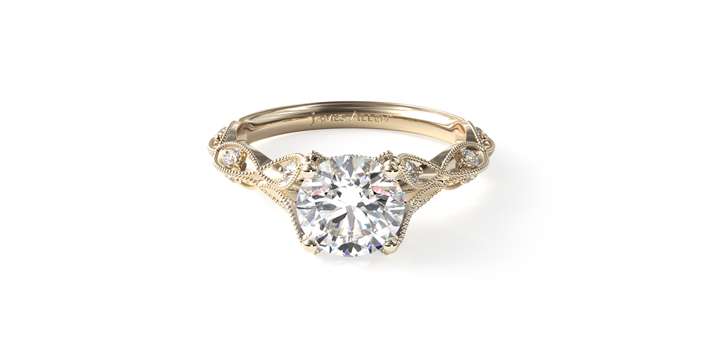 14K Yellow Gold Milgrain Navette Engagement Ring