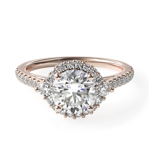 rose gold pave halo engagement ring