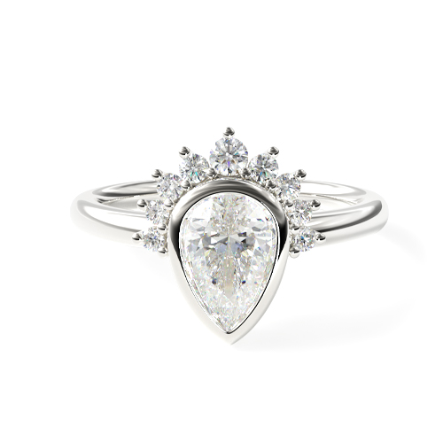 14K White Gold Pear Shape Bezel Set Diamond Tiara Engagement Ring