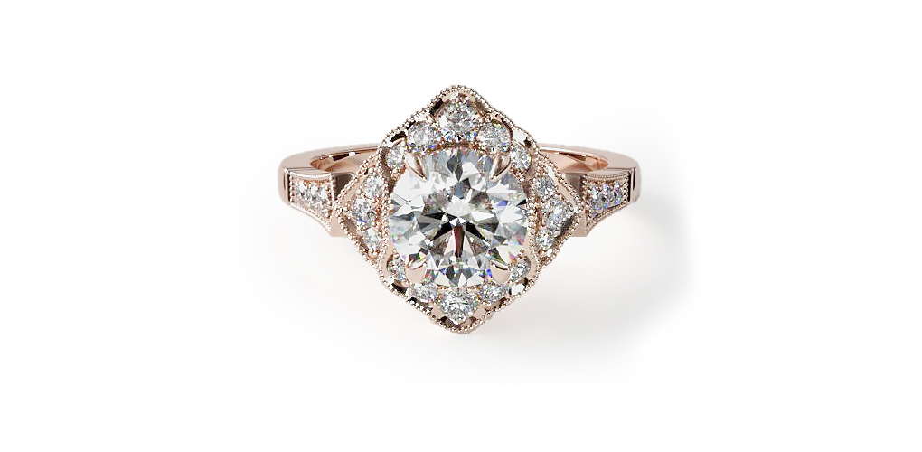 2021 engagement ring trends - rose gold regal frame engagement ring