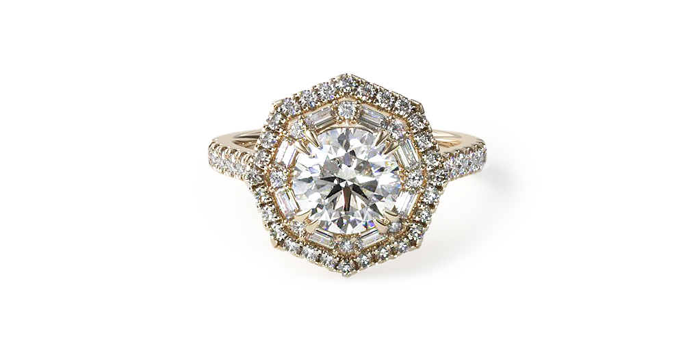 Octagonal Baguette Double Halo Engagement Ring with a lab-grown diamond