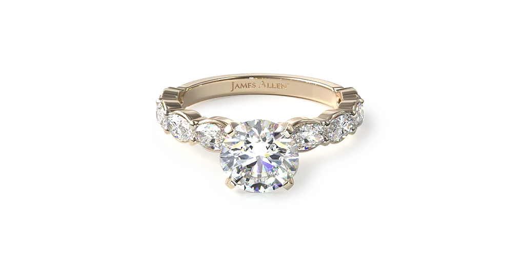 14K Yellow East-West Oval Diamond Gold Diamond Engagement Ring