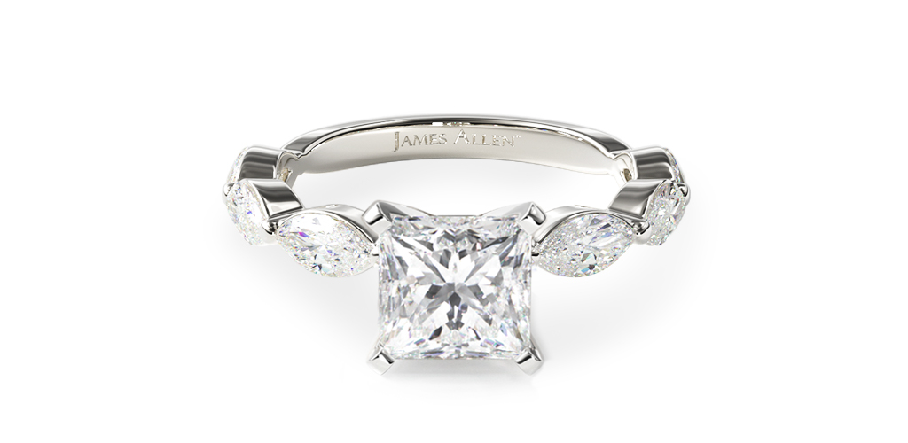14K White Gold East-West Marquise Diamond Engagement Ring