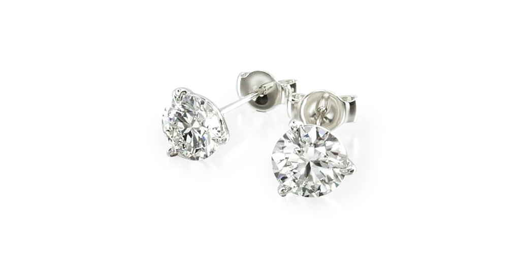 14K White Gold Three Prong Martini Round Brilliant Lab Created Diamond Stud Earrings