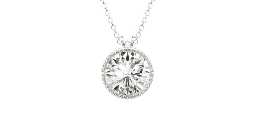 most popular fine jewelry: white gold milgrain bezel-set diamond pendant necklace