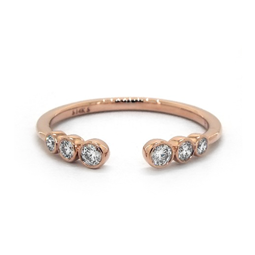 14K Rose Gold Petite Open Bezel Set Graduated Diamond Ring