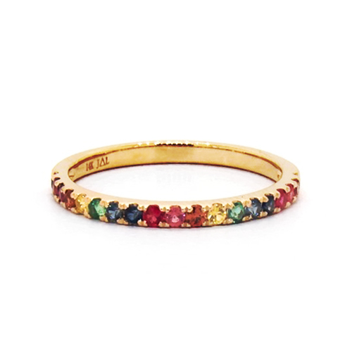 14K Yellow Gold Pave Rainbow gemstone Ring By Brevani