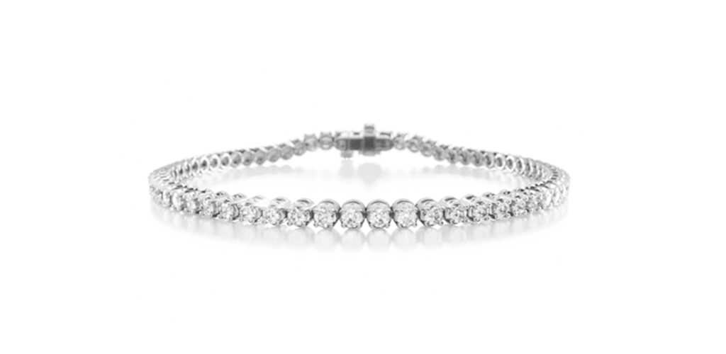most popular fine jewelry: white gold four prong diamond tennis bracelet