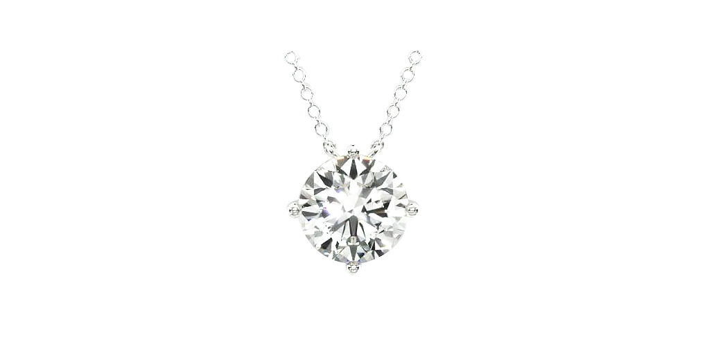 14K White Gold Kite Set Solitaire Lab Created Diamond Pendant