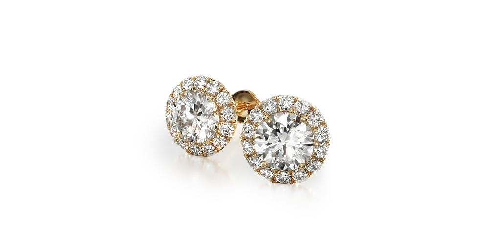 14K Yellow Gold Halo Lab Created Diamond Stud Earrings