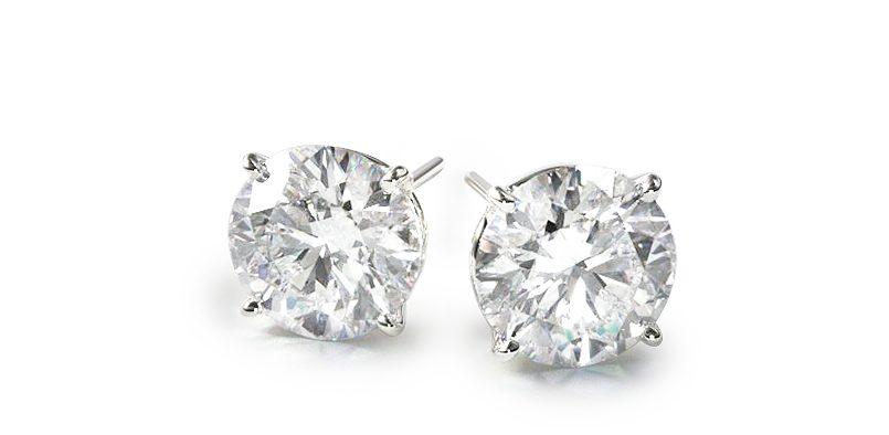 18K White Gold Four Prong Stud Earrings