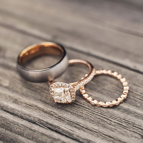 most popular wedding rings: rose gold vintage marquise and round diamond wedding ring