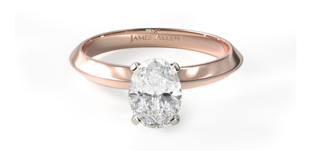 14K Rose Gold 2mm Knife Edge Solitaire Engagement Ring