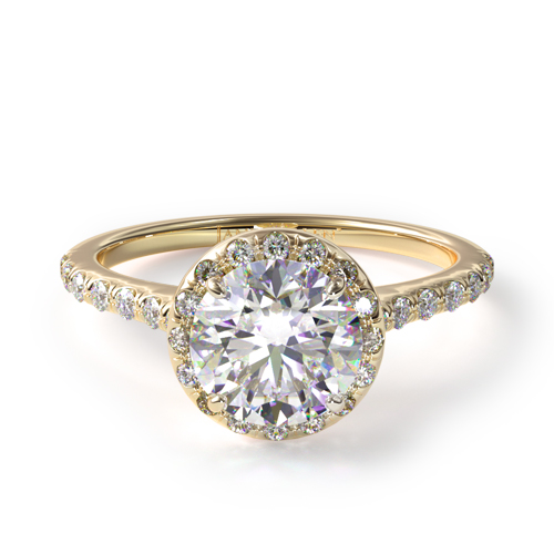 14K Yellow Gold Pave Halo And Shank Diamond Engagement Ring