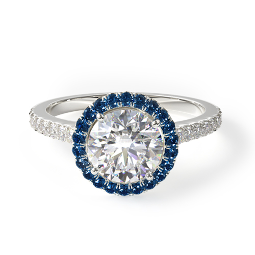 french cut pavé blue sapphire engagement ring
