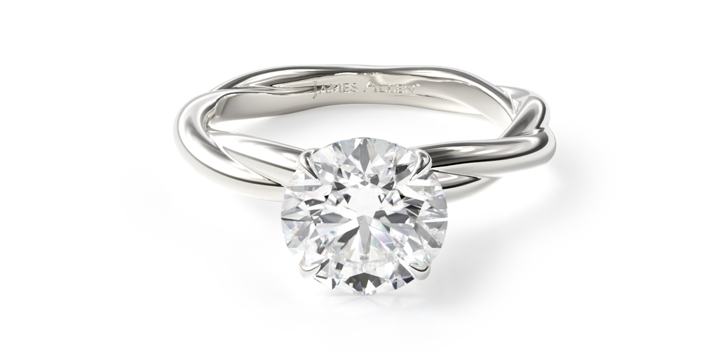 14K White Gold Rope Solitaire Engagement Ring