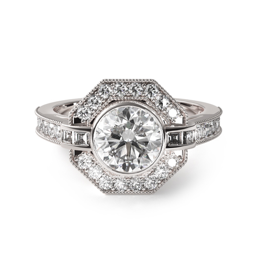 14K White Gold Art Deco Inspired Octagonal Halo Engagement Ring