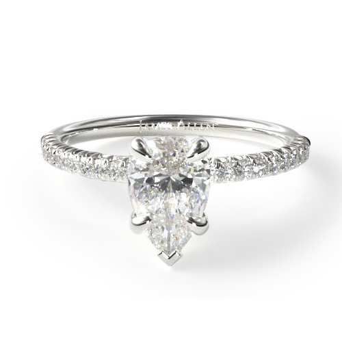 14K White Gold Petite Pave Engagement Ring