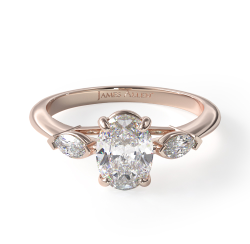 14K Rose Gold Marquise Shape Three Stone Ring