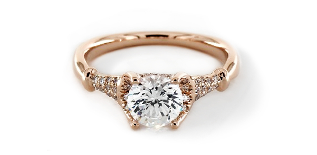14K Rose Gold Pinched Bar Pave Engagement Ring
