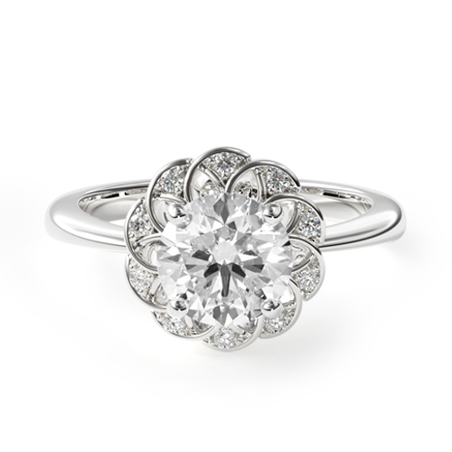 open lace pavé halo engagement ring