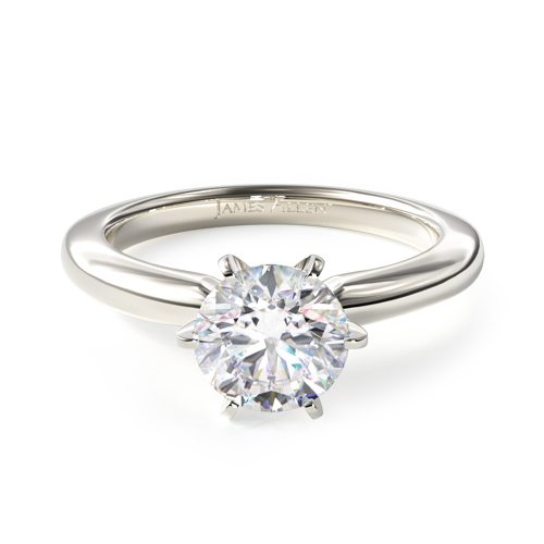 comfort fit solitaire engagement ring six prong