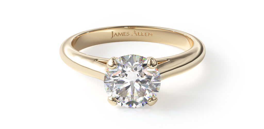 18K Yellow Gold Sleek Diamond Engagement Ring