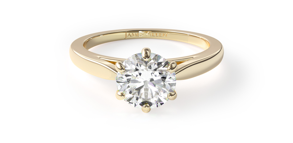 18K Yellow Gold Petite Flower Solitaire Engagement Ring