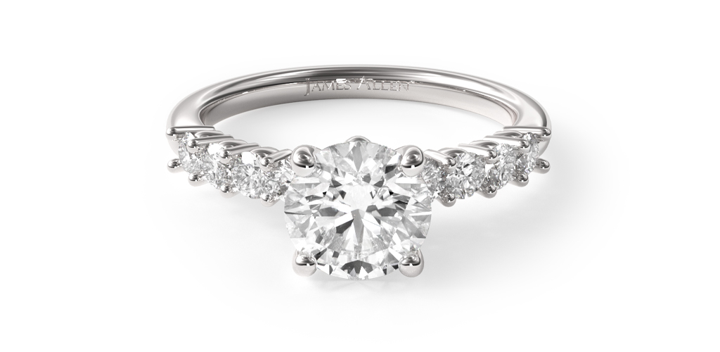 18K White Gold Prong Set Diamond Engagement Ring