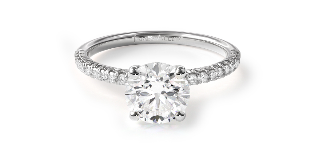 18K White Gold Petite Pavé Engagement Ring [Flush Fit]