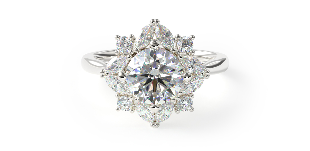 Marquise Cluster Halo Engagement Ring