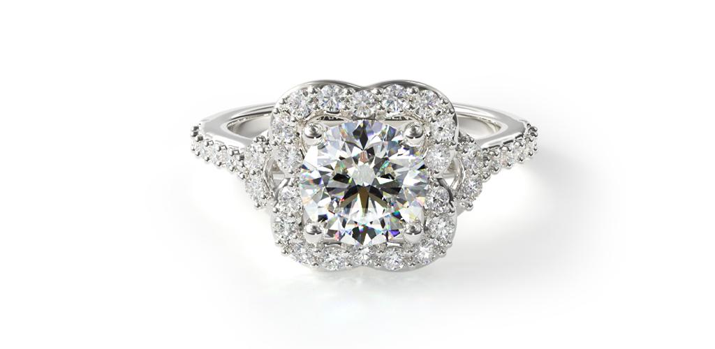 Pavé Antique Clover Engagement Ring