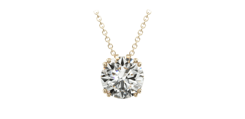 14K Yellow Gold Double Prong Diamond Pendant