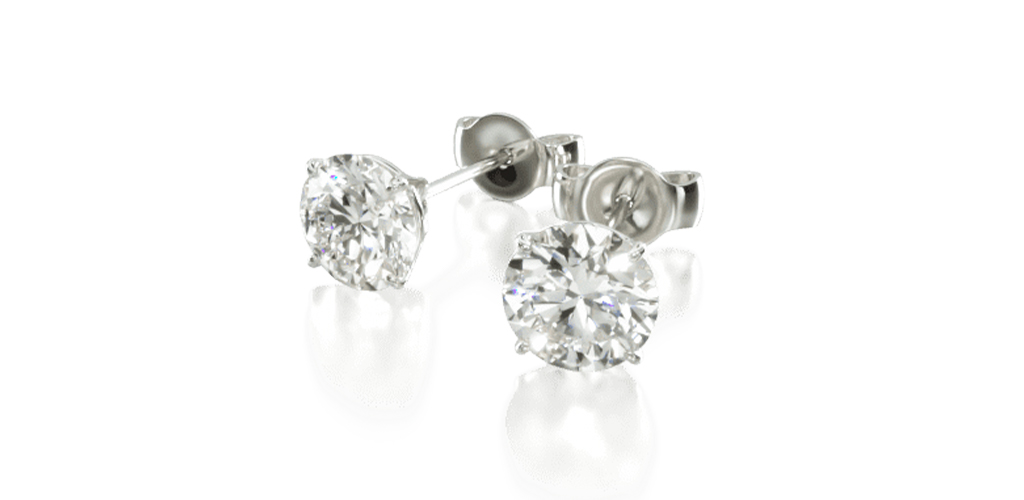 14K White Gold Four Prong Stud Earrings