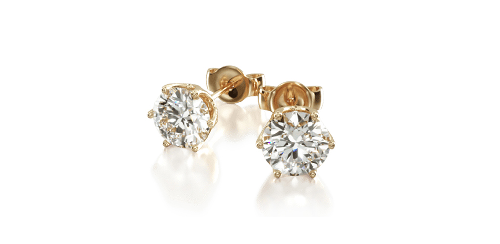 14K Yellow Gold Pair Of Scallop Basket Diamond Stud Earrings