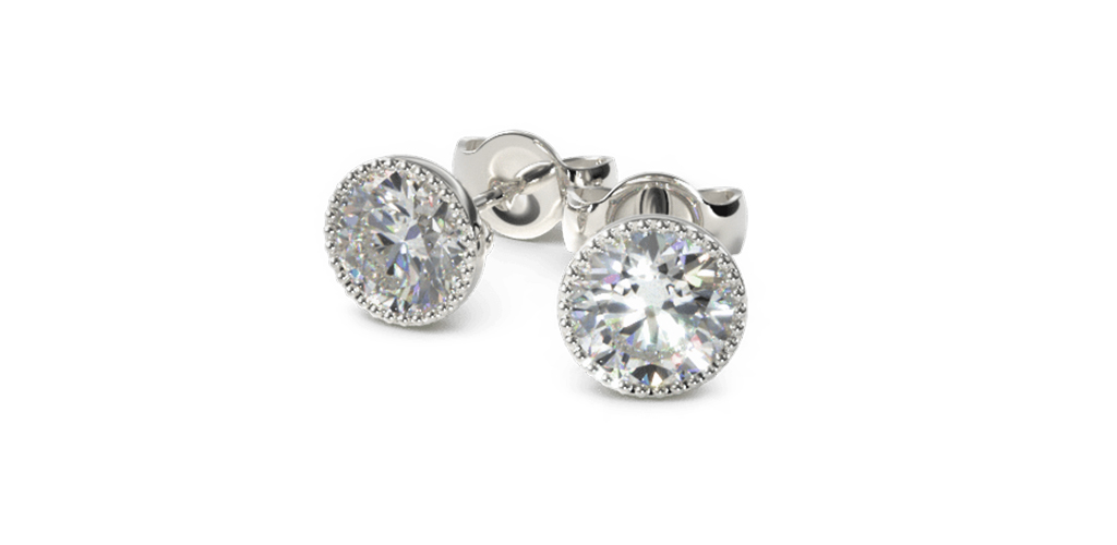 14K White Gold Pair Of Milgrain Bezel Diamond Stud Earrings