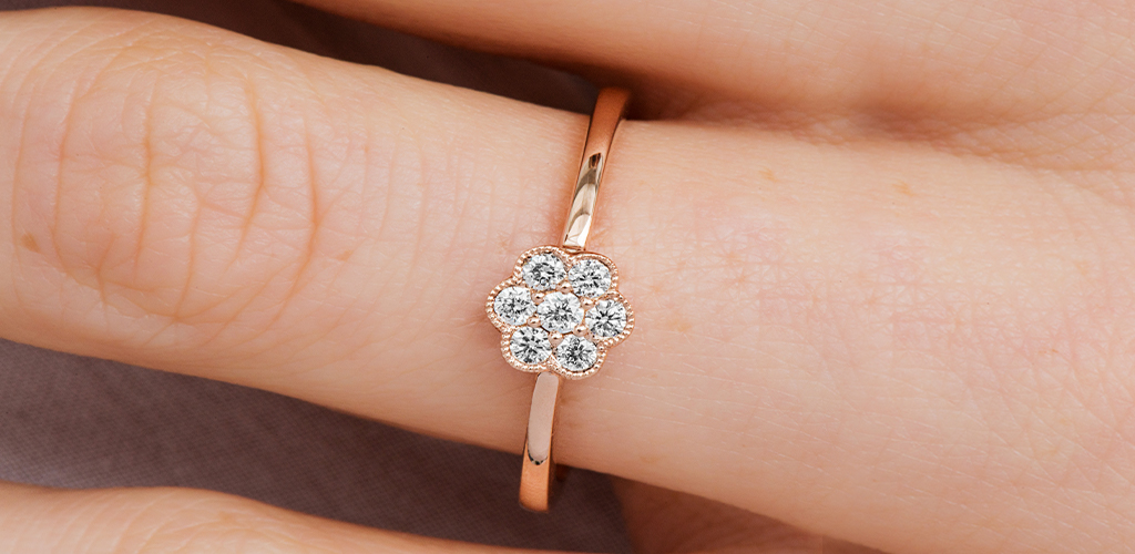 14K Rose Gold Milgrain Golden Blossoms Diamond Ring