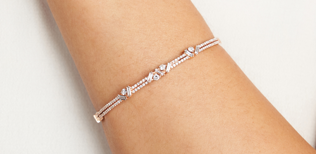 Rose gold jewelry - Rose Gold Diamond Sprinkles Bangle