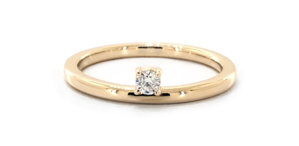 14K Yellow Gold Peeking Diamond Ring