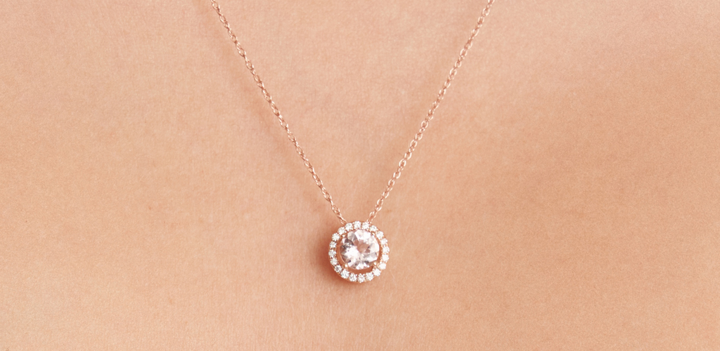 Morganite and Diamond Halo Rose Gold Necklace