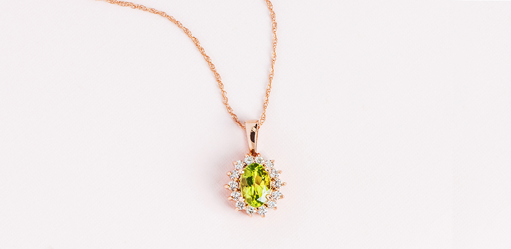 Peridot and Diamond Halo Rose Gold Necklace