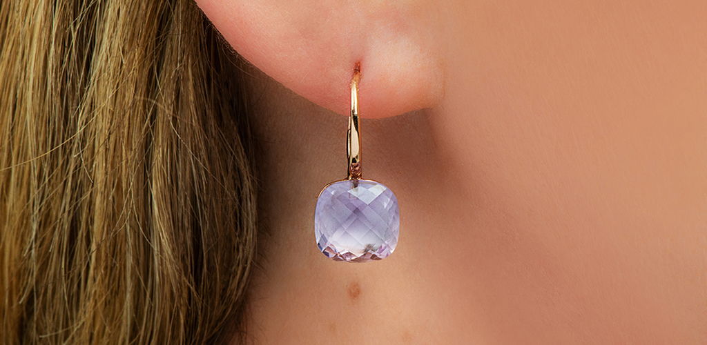 Amethyst Checkerboard Rose Gold Earrings