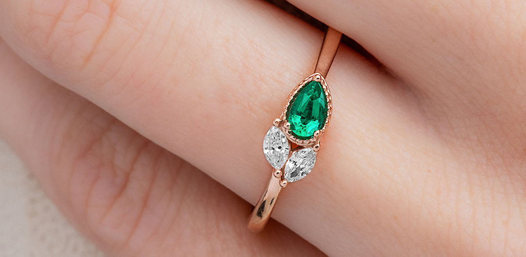 Rose Gold Emerald and Diamond Cluster Ring