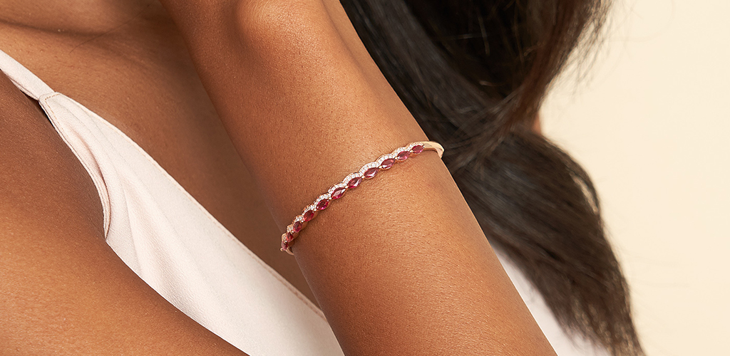 Rose gold jewelry - Rose Gold Ruby and Diamond Bracelet