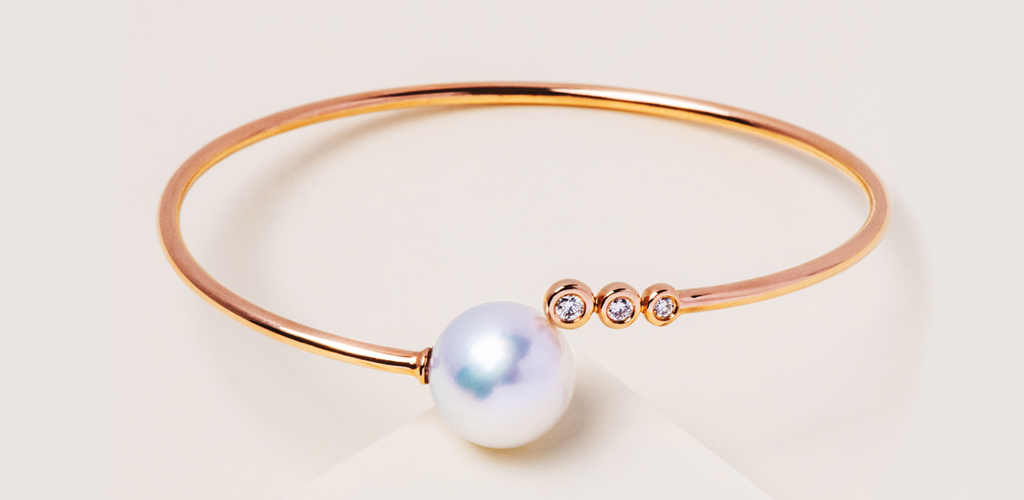 Rose gold jewelry - Rose Gold South Sea Pearl and Diamond Bracelet