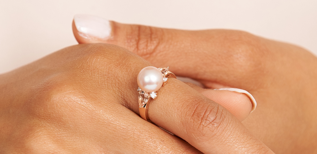 Rose Gold Pearl Ring with Diamond and Morganite
